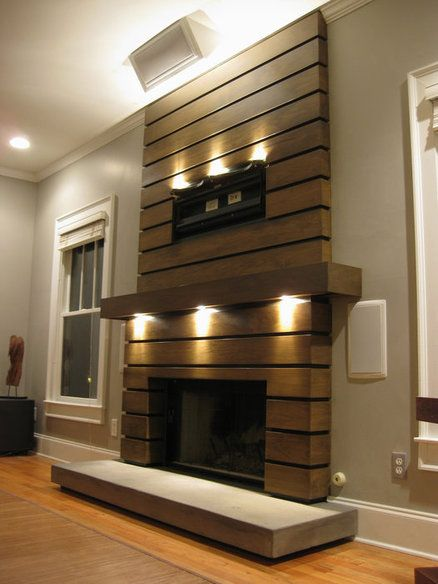 Slatted Fireplace Surround And Mantle Modern Fireplace
