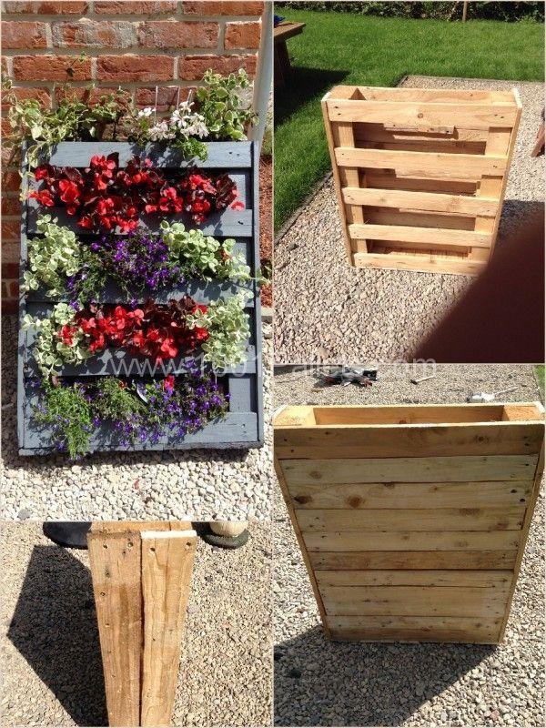 homemade vertical pallet planter recyclages pinterest jardins jardini re palette et palette. Black Bedroom Furniture Sets. Home Design Ideas