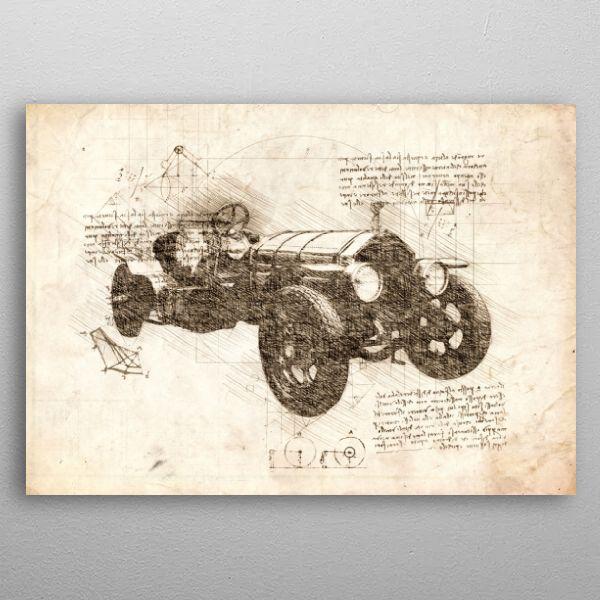 Vintage car sketch by northpointprints | metal posters - Displate