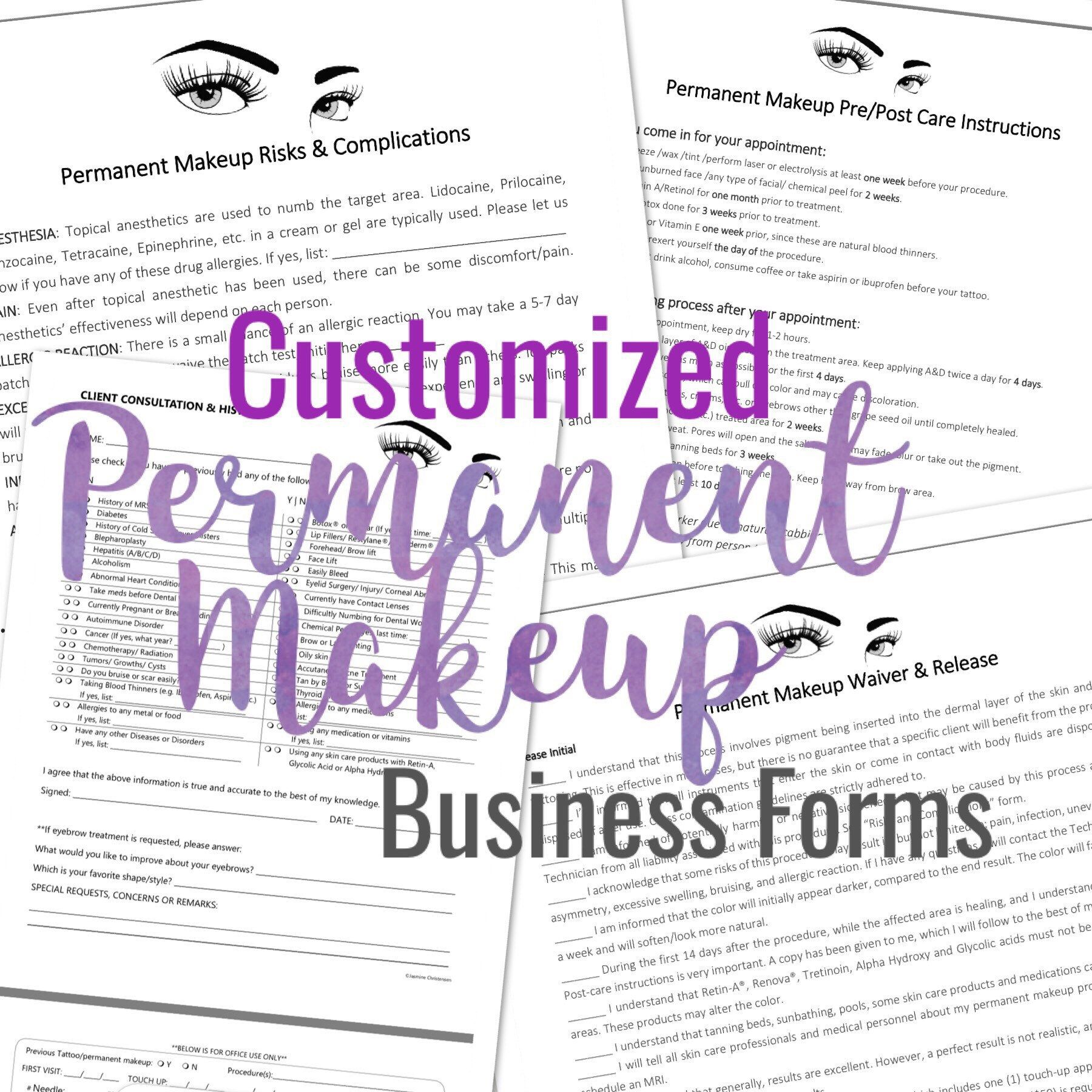 Permanent Makeup Cosmetic Tattoo Forms Add Your Logo Client