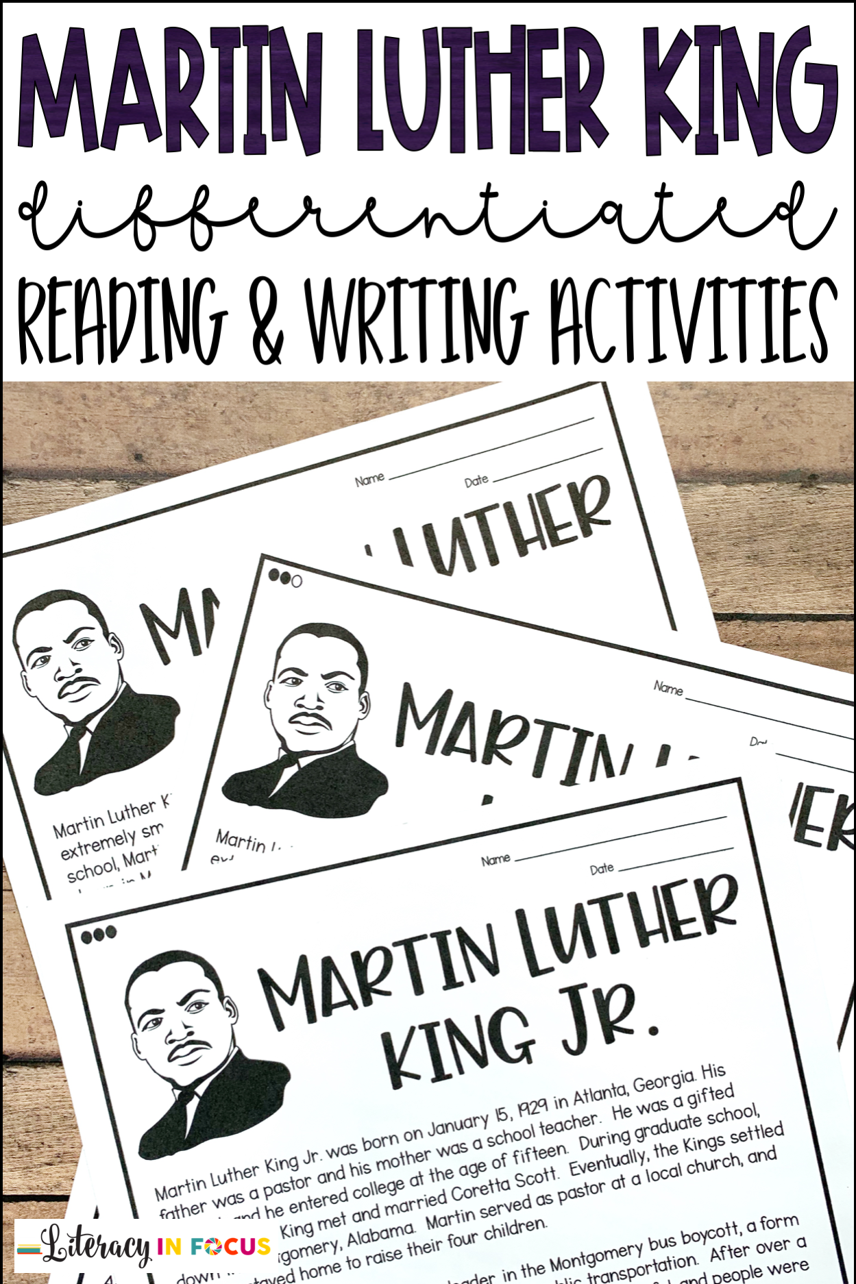 Martin Luther King Reading and Writing Activities