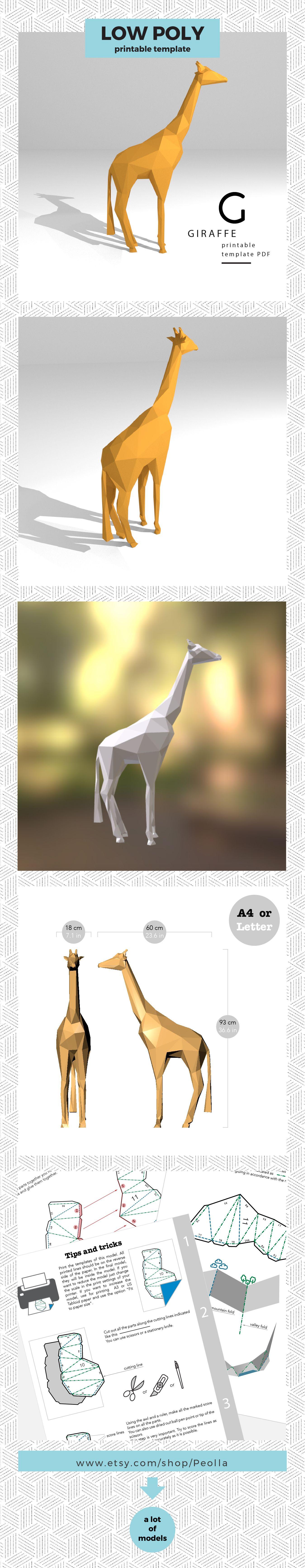 Printable Diy Template Pdf Giraffe Low Poly Paper Model 3d Low