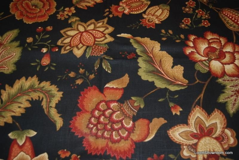 Hd791 English Jacobean Style Block Print Floral Fabric Black Background Heavy Weight Cotton Floral Upholstery Fabric Floral Upholstery Black Flowers Wallpaper