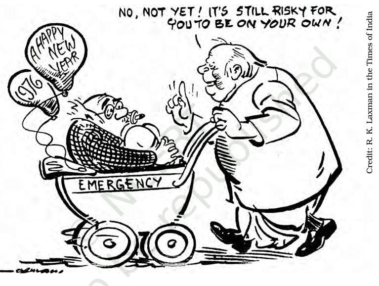 rk laxman cartoon on the continuation of emergency the common man counselled by the avuncular deb kant baruah of the indira is india india is indira