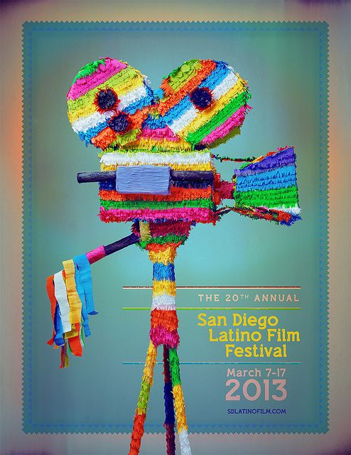 fantastic piñata poster for the 2013 san diego latino film festival by juan luis garcia. great colour palate.