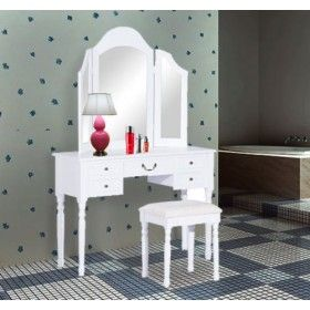 Tocador con taburete y espejo mesa de maquillaje con 5 - Tocadores con espejo ...