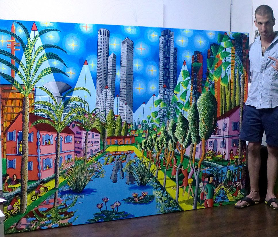 tel aviv naive painting israeli artworks landscape jewish