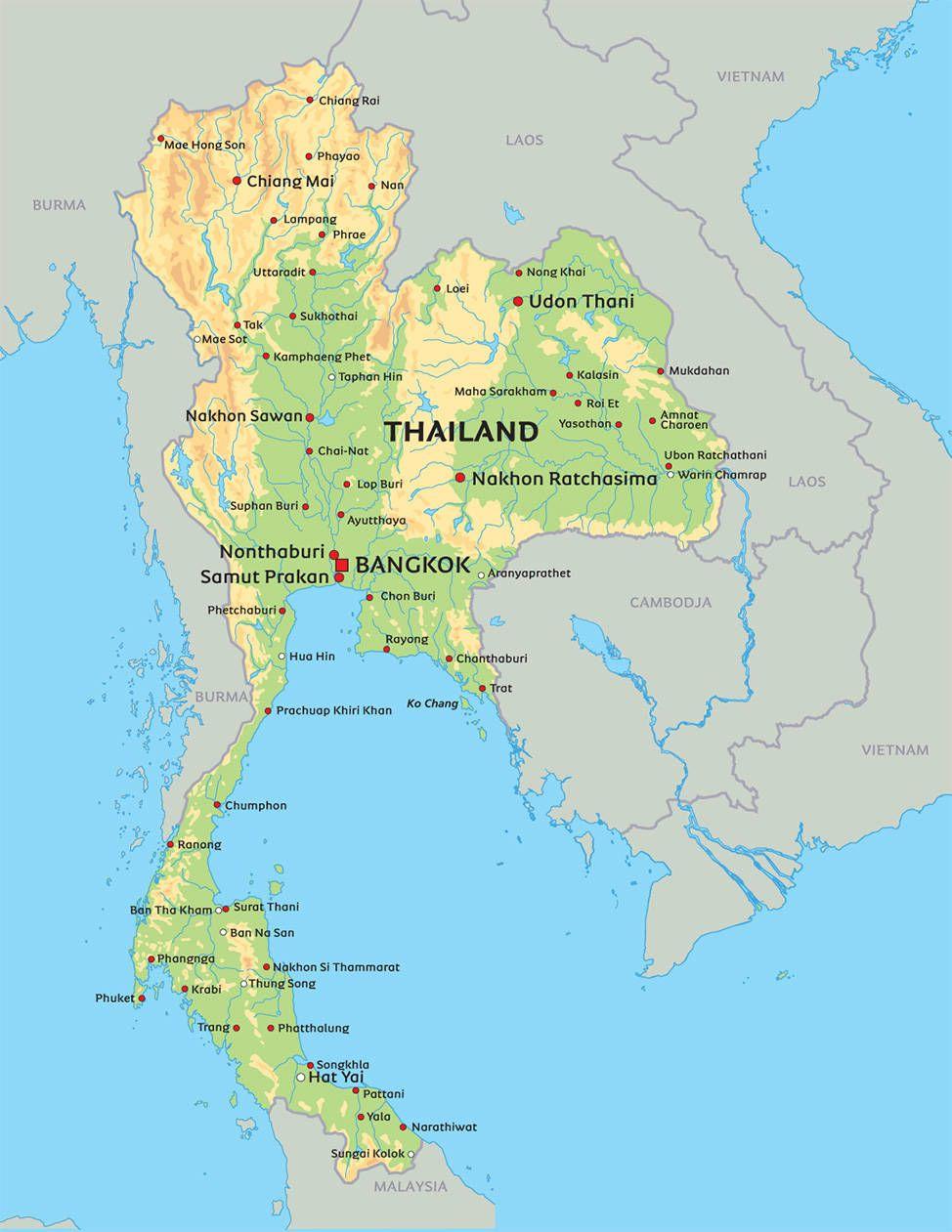 Kort Thailand: se bl.a. placeringen af Bangkok og Koh Chang