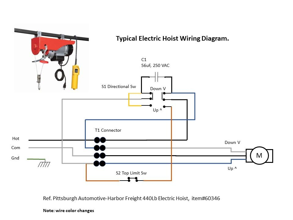 Electric Hoist Wiring Diagram - Harbor Freight | Electric hoists,  Electrical circuit diagram, ElectricityPinterest