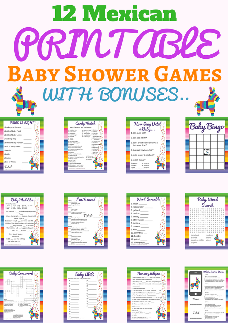 3 Games Baby Shower Game Pack