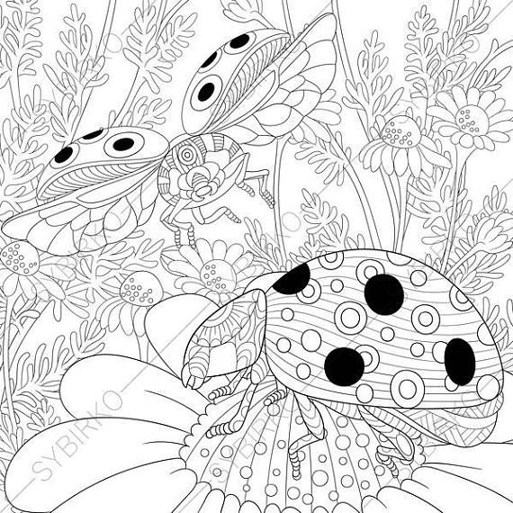 Coloring Pages For Adults Digital Coloring Pages Ladybird Etsy Animal Coloring Books Animal Coloring Pages How To Draw Hands