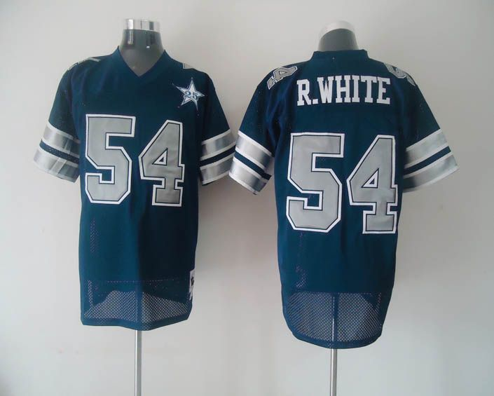 Mitchell   Ness Cowboys  54 R.White Blue With 25th Patch Stitched Throwback  NFL 18f68c232a9