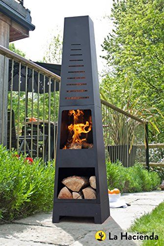 la hacienda skyline black steel garden chiminea with laser cut ... - Designer Patio Heaters