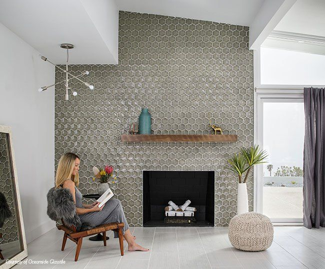 Mid Century Modern Fireplace With Oceanside Glasstiles Backsplash Wall Tiles Living Room Living Room Tiles Tile Accent Wall Living Room
