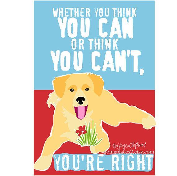 Classroom Art Childrens Wall Art Golden Retriever Puppy Motivational ...