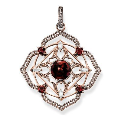 The Muladhara root chakra strengthens instincts, stability and assertiveness. #THOMASSABO pendant crafted from 18k rose gold with red garnet, milky quartz and white #diamonds.