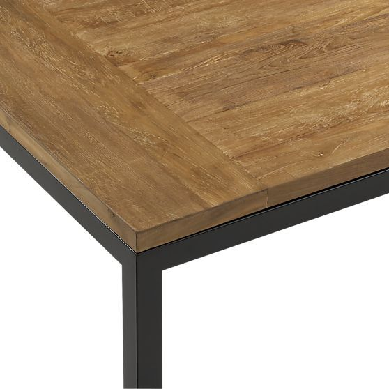 Parsons Teak Top 48x28 Dining Table With Natural Dark Steel Base In Dining  Tables | Crate