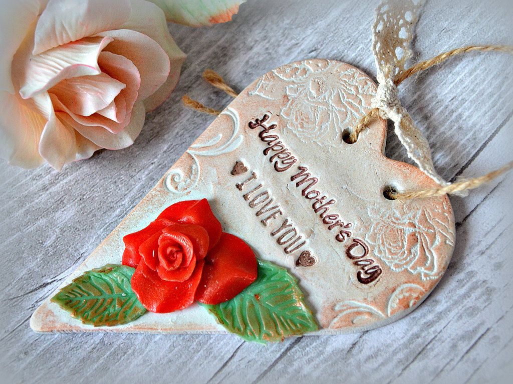 Rustc Mothers Day Gift Clay Heart Plaque With Rose Happy