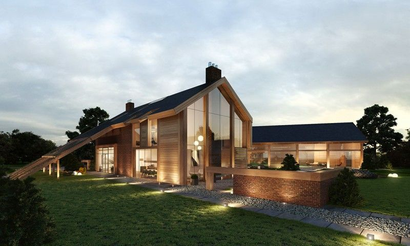 Contemporary farm house barn houses throughout modern open for Contemporary barn homes