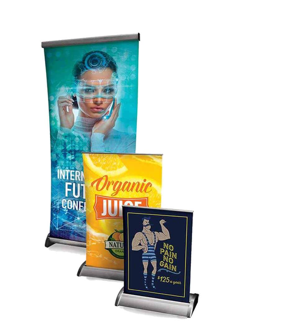 Tabletop Floor Displays We Offer Tabletop Retractable Displays And Fabric Tube Displays Tabletop Re Retractable Banner Retractable Banner Stand Vinyl Banners