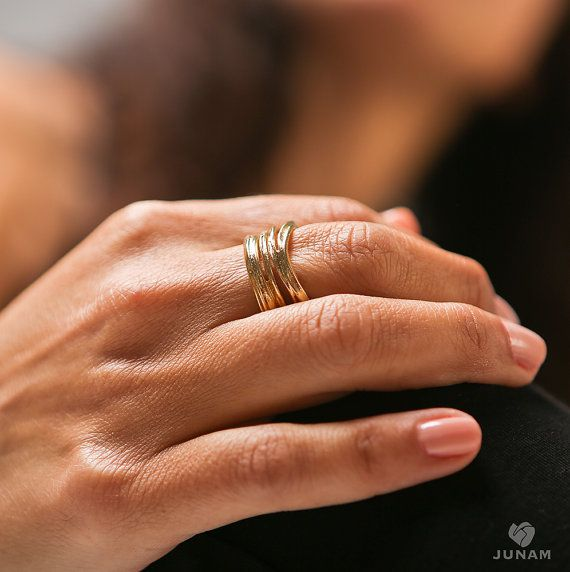 Silver Ring Unique Loop Design sterling silver or gold plated | JunamJewelry