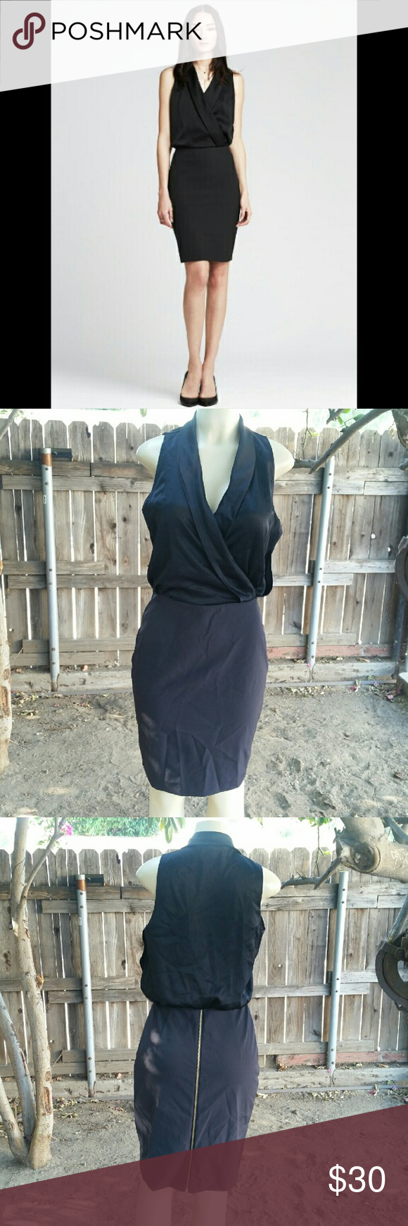 Draped classy dress Black dress with draped v neck and back zipper.. size 6 Great condition No flaws Banana Republic Dresses Mini
