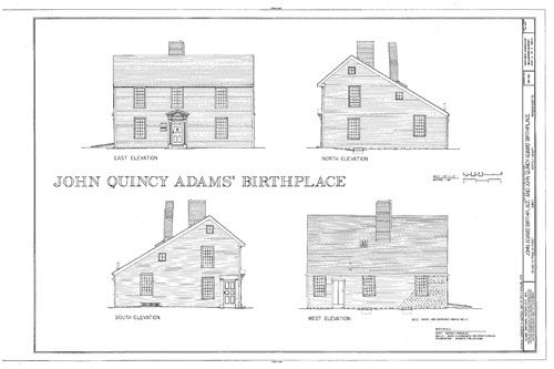 John quincy adams birthplace before 1735 a historic for Historic colonial house plans