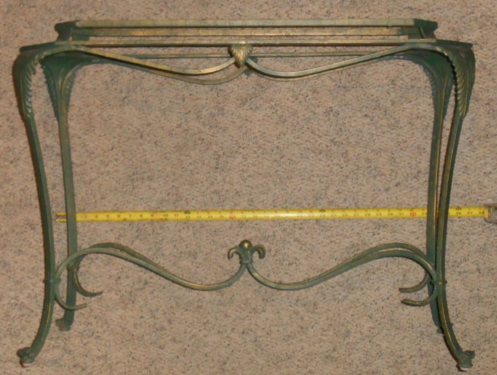 Wrought Iron Sofa Table With Glass Top 52 X 18 Rectangle 115 00
