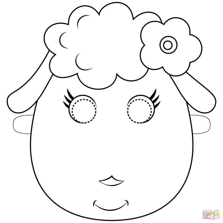 Free Printable Coloring Pages for How to MakeLamb Mask
