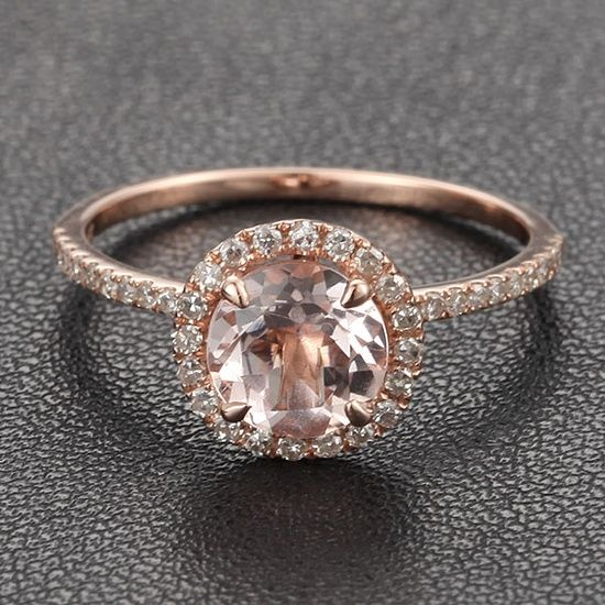 HALO 7mm Morganite 27ct Pave Diamond Claw Prongs 14K Rose Gold