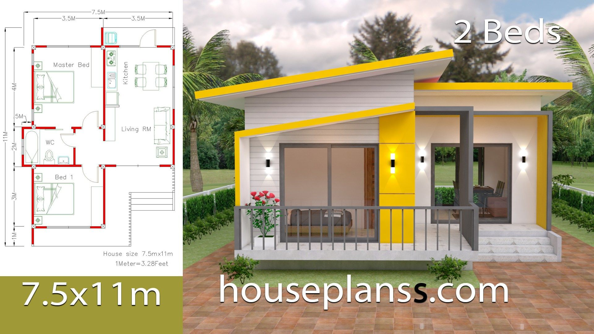 Small House Design Plans 6x8 With 2 Bedroomsthe House Has One Story House 2 Bedrooms 1 Bathroo Small House Design Plans Small House Design Simple House Plans