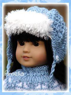 66b10fc3911 Debonair Designs for Dolls  Amelia ~ a trendy ear-flap hat knitting pattern