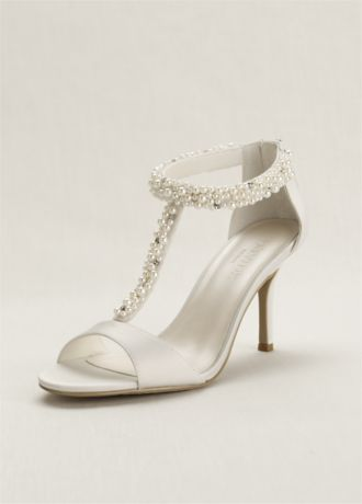 Pearl And Crystal T Strap Sandal David S Bridal Quinceanera Shoes Bride Shoes Pearl Wedding Shoes