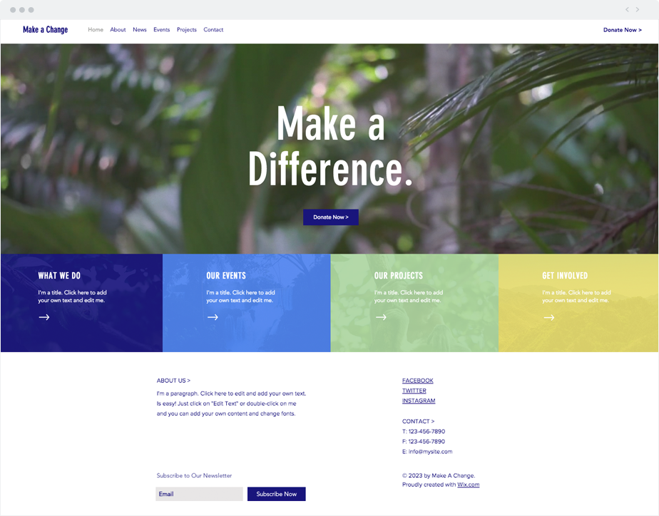 Environmental NGO Website Template | Wix Website Templates ...