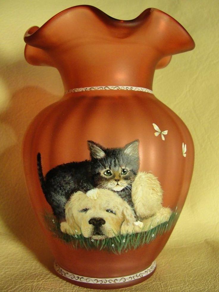 Fenton Custard Glass With Grey Tabby White Pup Vase Fenton
