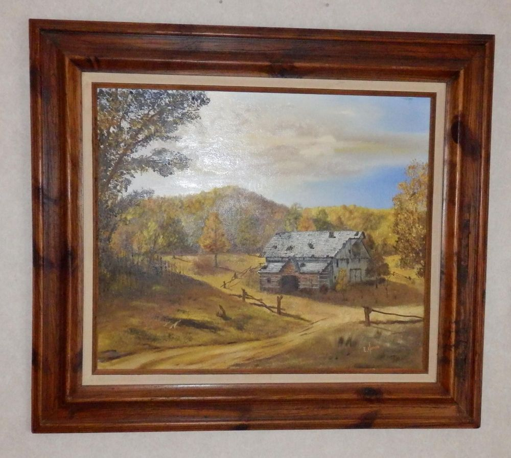Vtg Oil 20x24 Painting On Canvas By E. Howe Wood Frame Barn ...