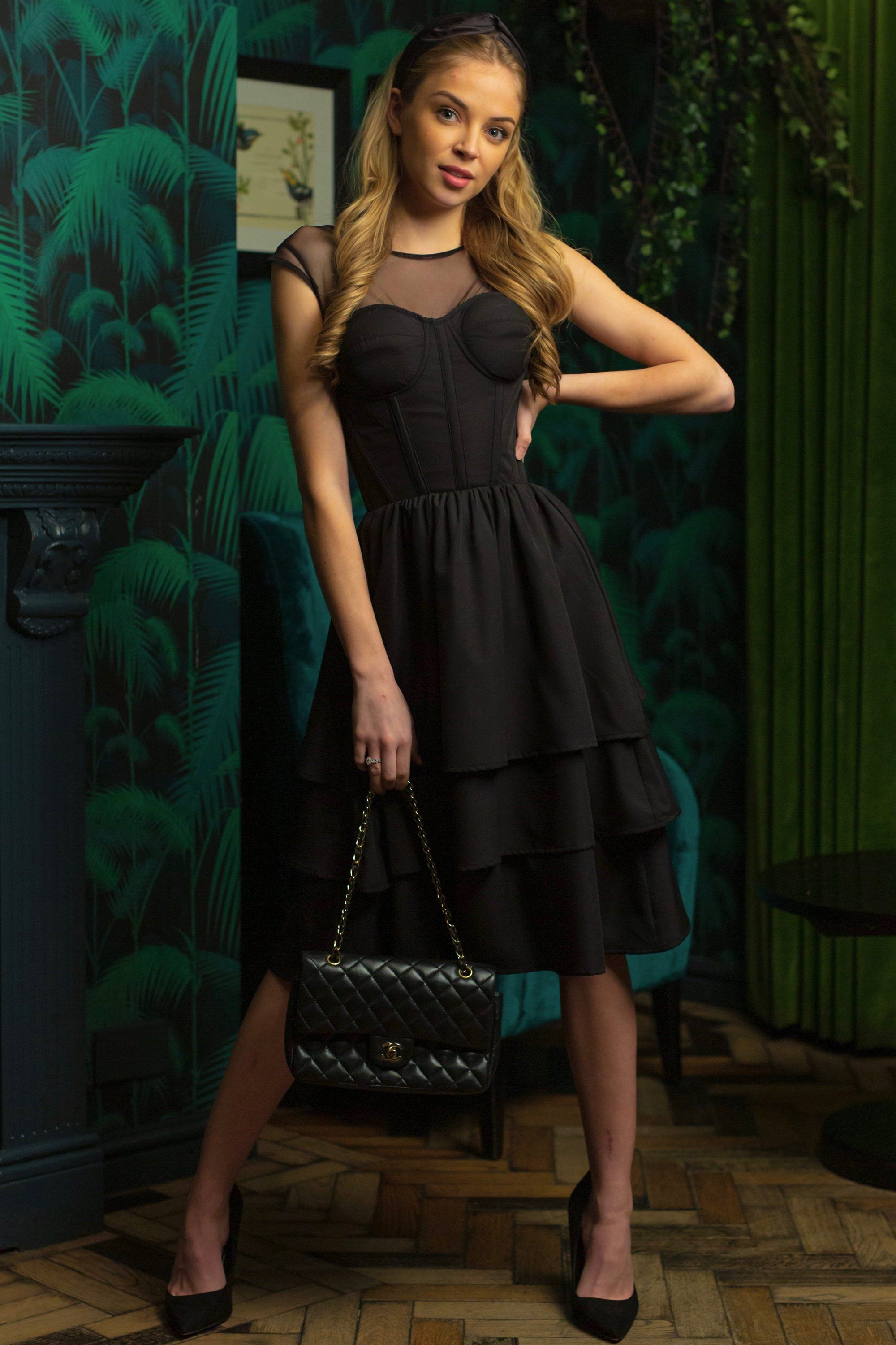 Black corset dress with mesh sleeves 24 in 2020 black