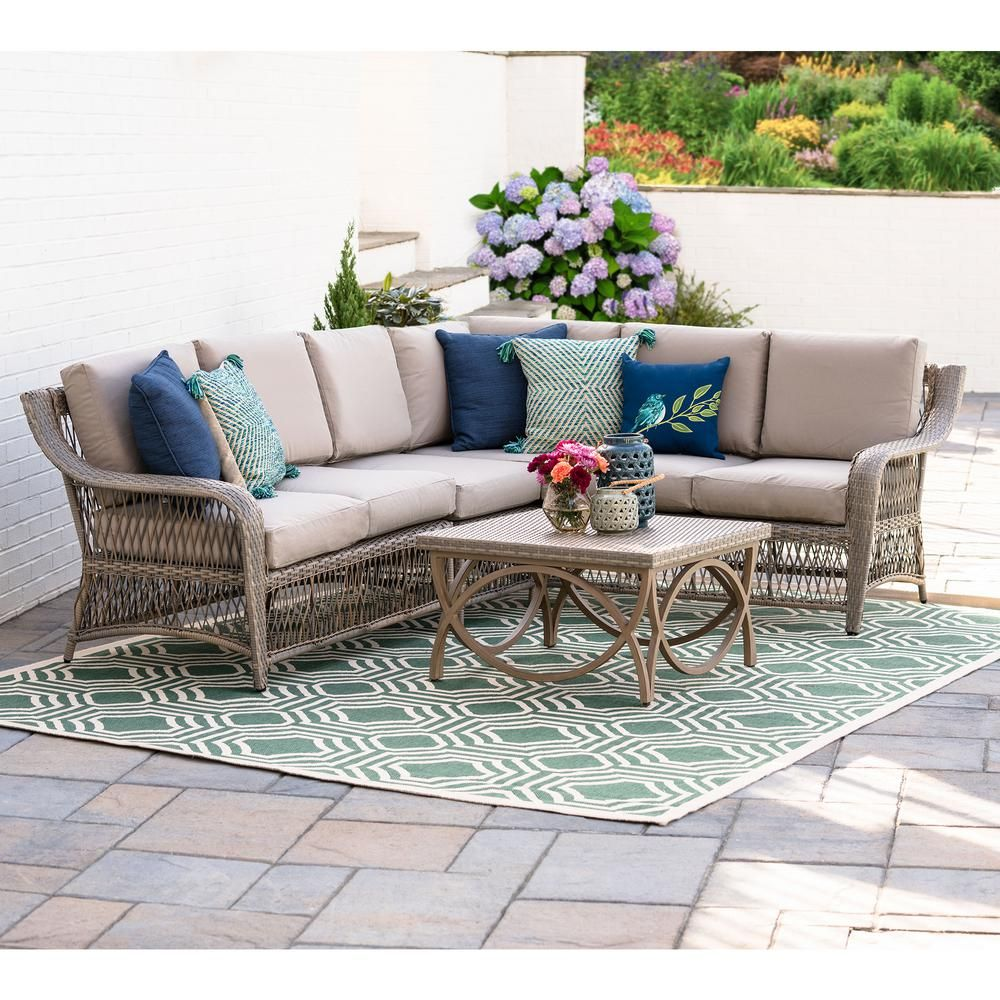 Leisure made birmingham 5 piece wicker outdoor sectional set with tan cushions