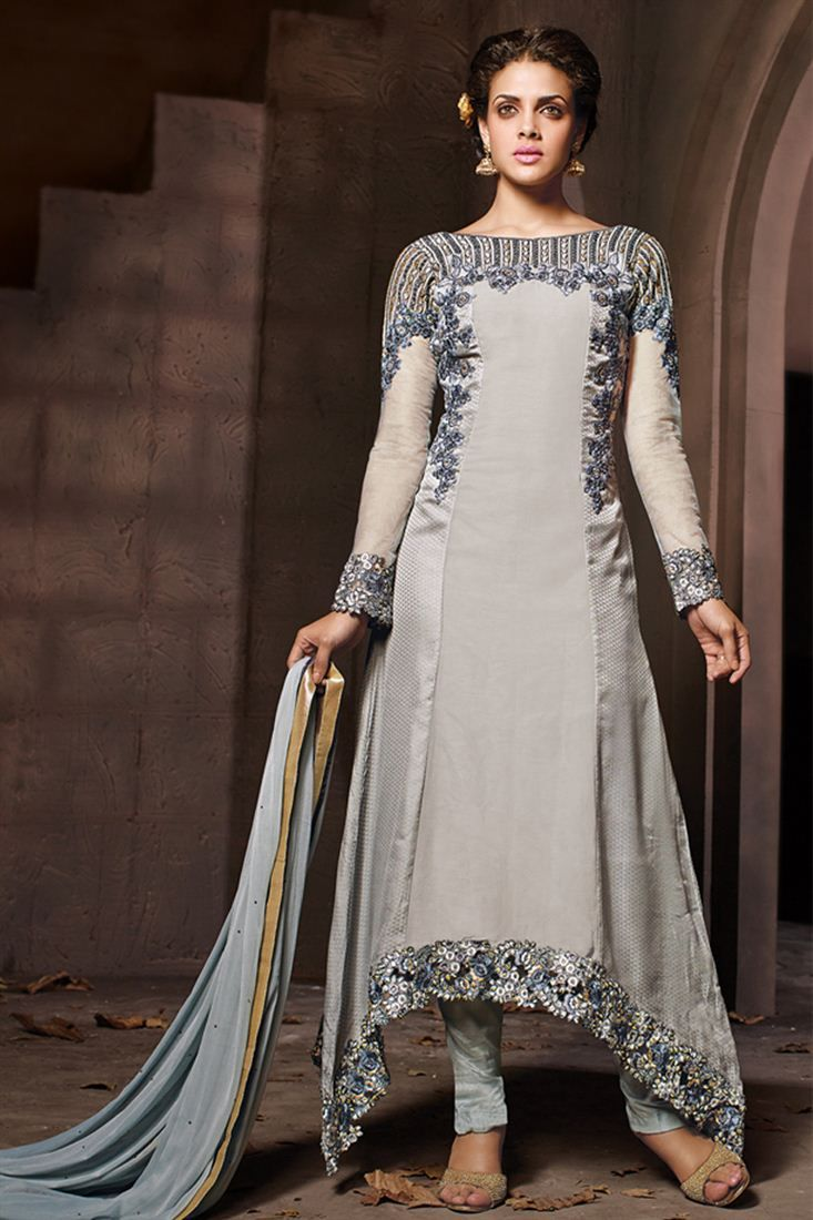 f07a79b715 Designer Party Wear Georgette and silk Salwar Kame   Things to Wear ...