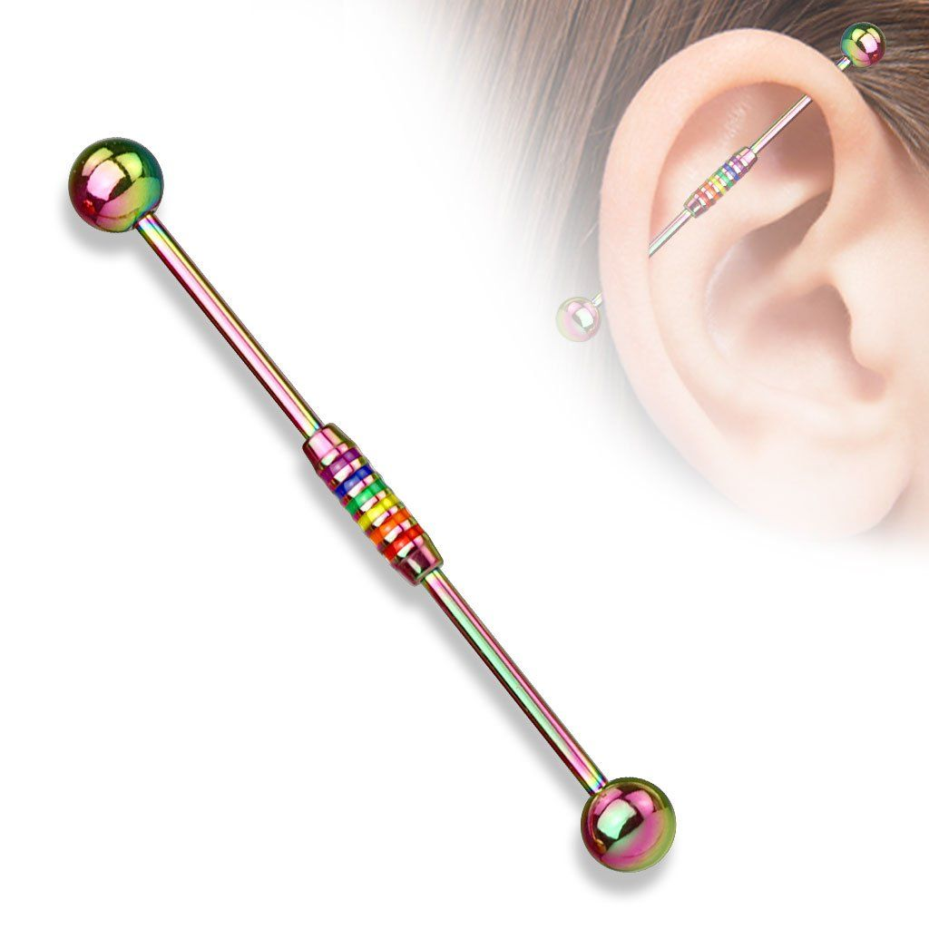 Rainbow Striped Center 316l Surgical Steel Industrial Barbells