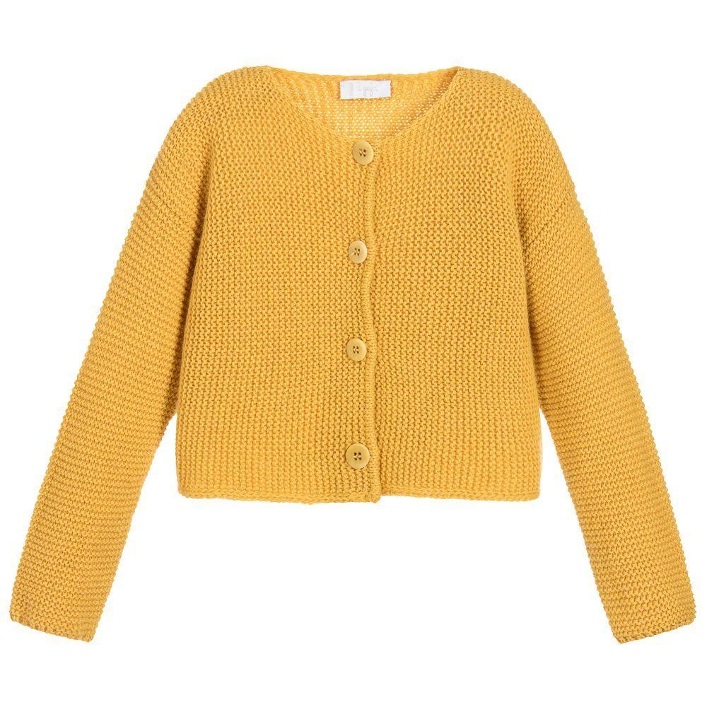 Il Gufo - Girls Yellow Wool Cardigan | | TOPS JUMPERS KIDS ...