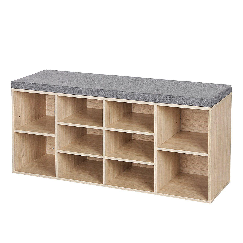 Songmics Schuhbank Schuhschrank Mit Sitzkissen Aus Holzspanplatte Flur  Diele Schuhregal Bank 104 X 48 X 30