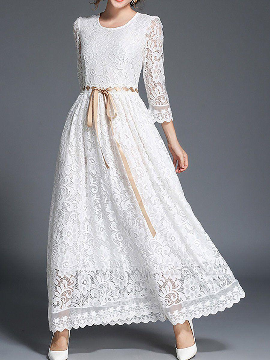 White Maxi Dress Date Dress 3 4 Sleeve Lace Guipure Lace Floral Dress Www Babyonlinewholesale Com Model Pakaian Muslim Gaya Model Pakaian Model Pakaian [ 1200 x 900 Pixel ]