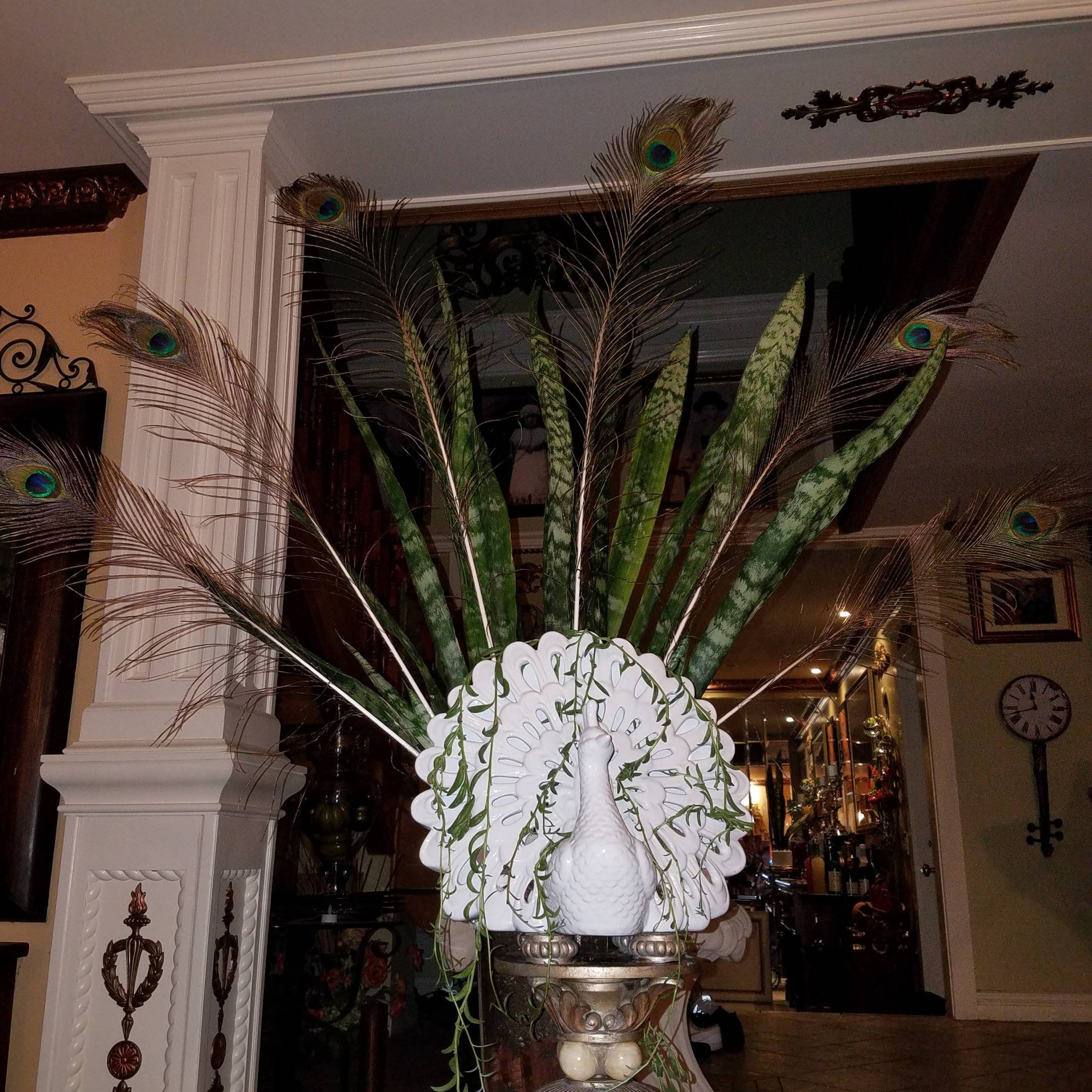 Home decor, novelty planter, White Peacock, plant air