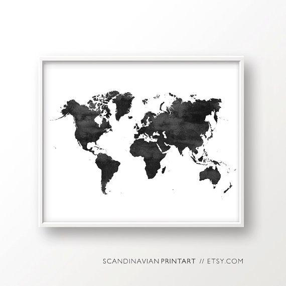 World map poster water color world map world map print black and world map water color print black white par scandinavianprintart gumiabroncs Choice Image