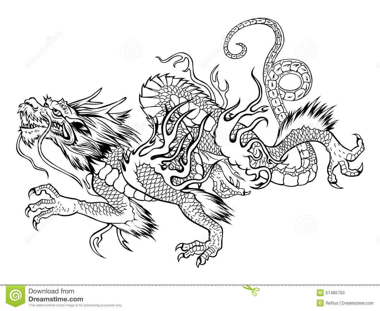 japanese-dragon-vector-black-white-illustration-51485750.jpg (1300×1065)