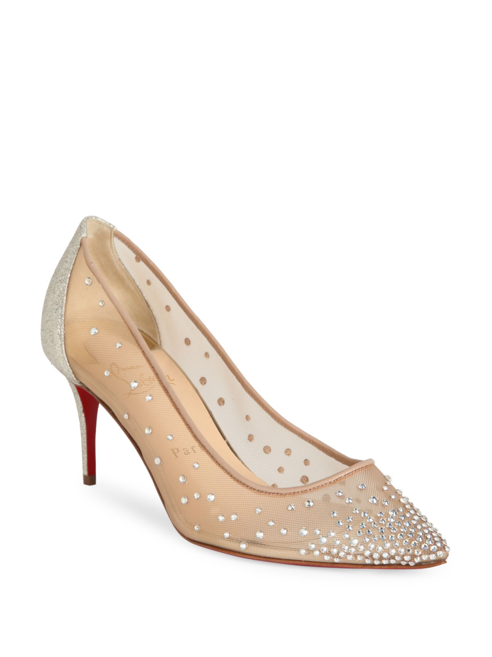 aef52036da7a Christian Louboutin Follies Strass 70 Mesh   Glitter Point Toe Pumps ...