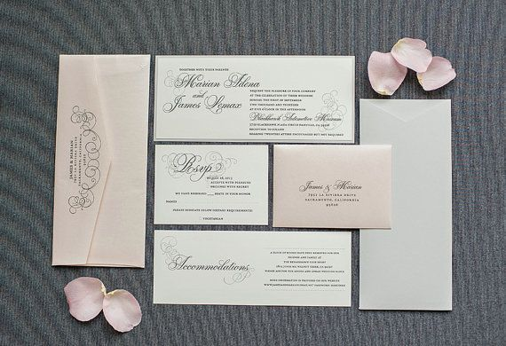 Blush Pink Wedding Invitation, Silver Invite, Formal Invitation - formal invitation