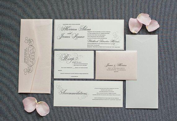 Blush Pink Wedding Invitation, Silver Invite, Formal Invitation - formal invitation