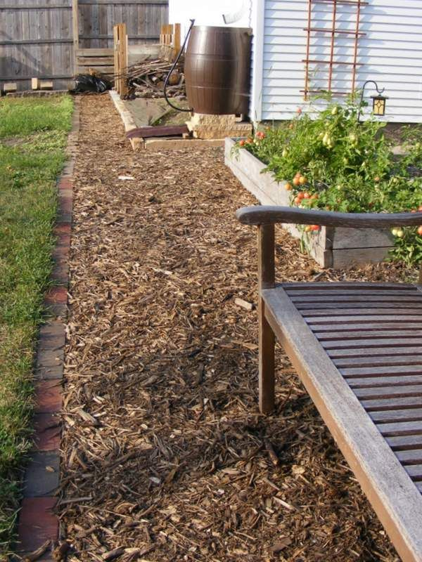 Wood chip mulch path with brick edging and raised beds (http://www - How To Build A Wood Chip Path In Your Garden This Spring DIYs